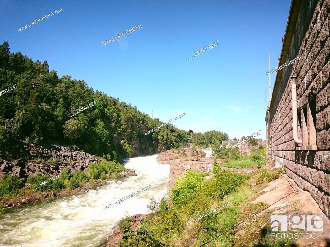 Stock Photo: The Trollhättan Falls, one of the main attractions in Trollhättan Municipality, Västra Götaland County, Sweden.