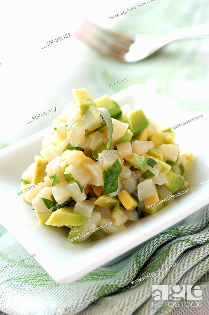 Stock Photo: scallop and avocado tartare with tarragon and lime.