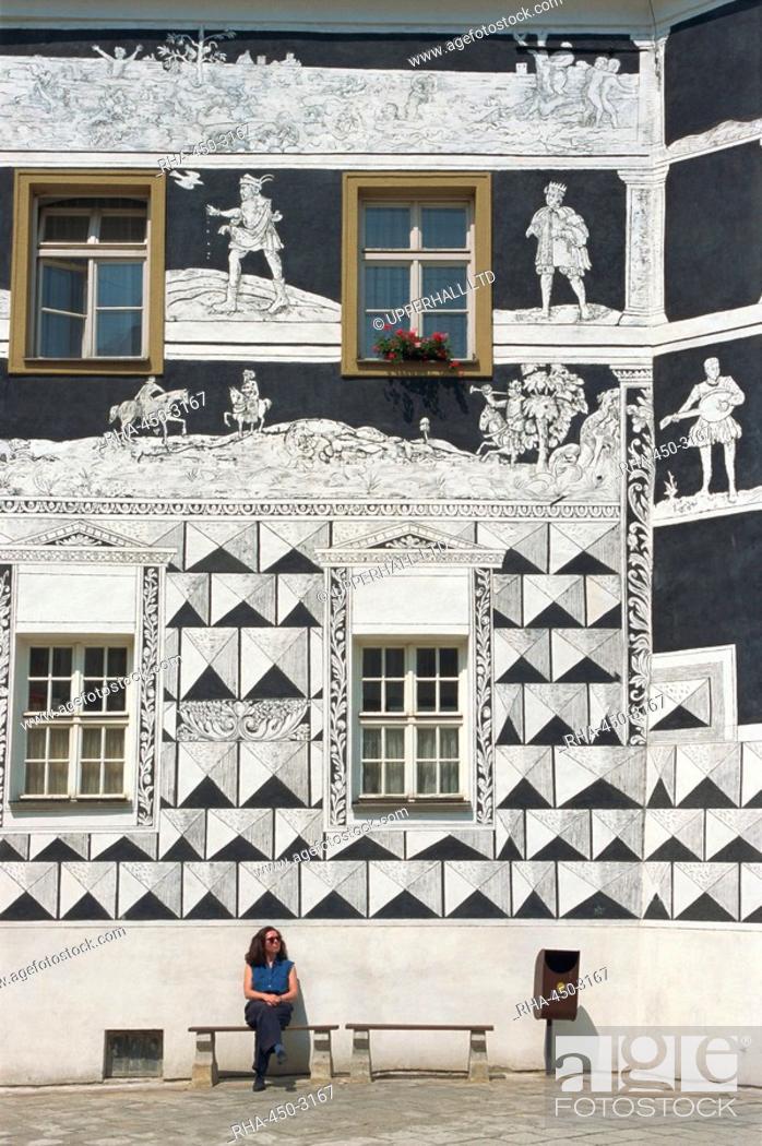 Stock Photo: Sgraffitoed Canons House, Namesti, Mikulov, South Moravia, Czech Republic, Europe.