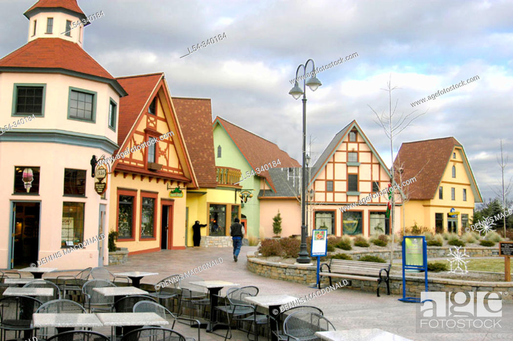 Stock Photo: River Place shopping center. Frankenmuth, Michigan. USA.