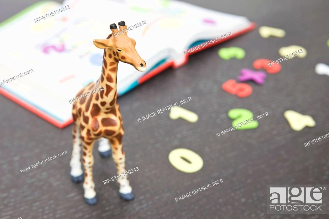 Stock Photo: text book, numbers and animal shape.