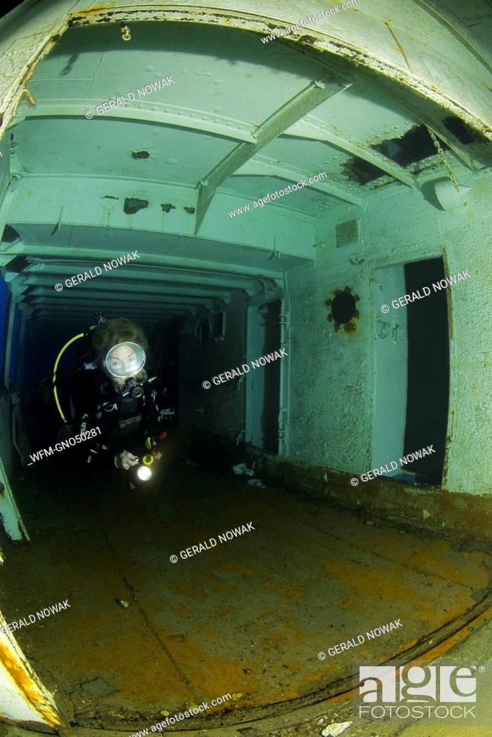 Diver at Wreck MV Cominoland, Mediterranean Sea, Gozo, Stock