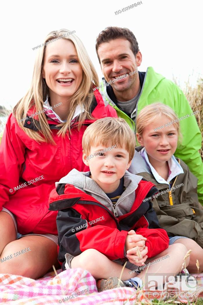 Stock Photo: Family outdoors.