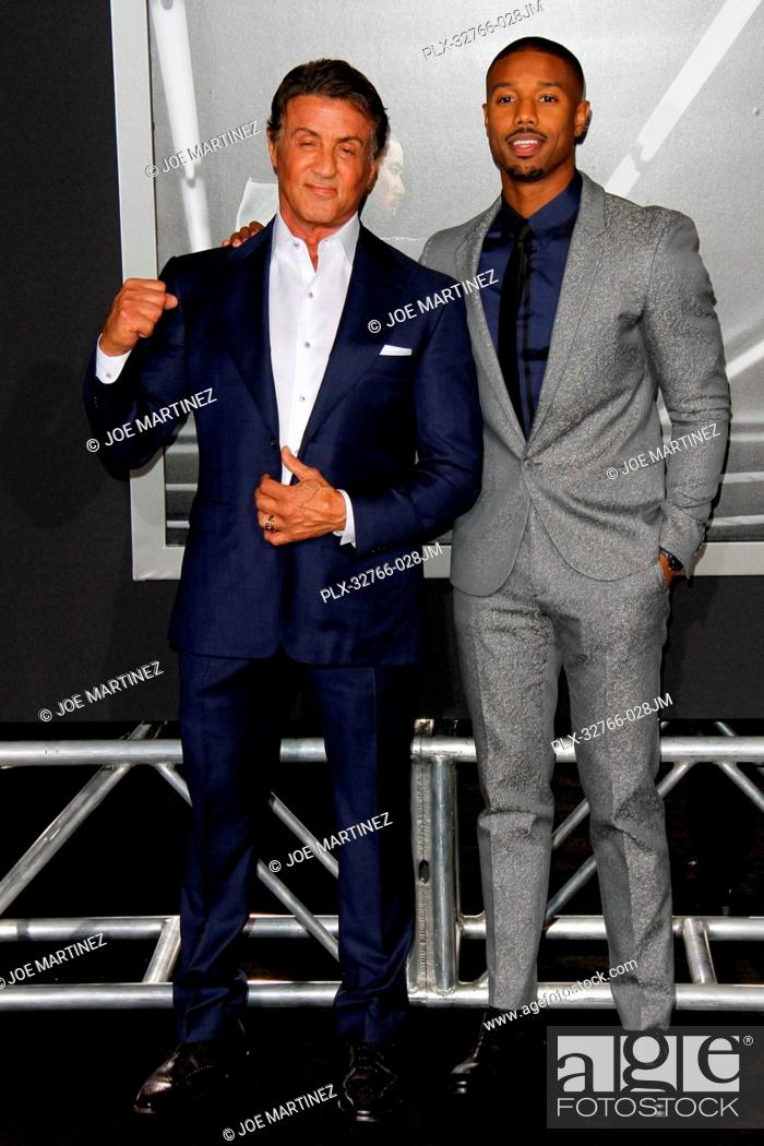 Guiño Colapso Nylon  Sylvester Stallone and Michael B. Jordan at the Los Angeles World Premiere  of Creed held at the..., Stock Photo, Picture And Rights Managed Image.  Pic. PLX-32766-028JM | agefotostock
