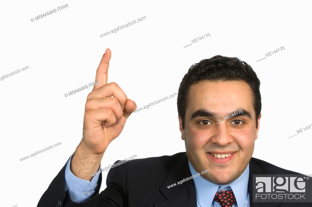 Stock Photo: Businessman hand up.