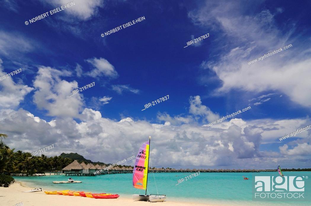 Stock Photo: Beach, St. Regis Bora Bora Resort, Bora Bora, Leeward Islands, Society Islands, French Polynesia, Pacific Ocean.
