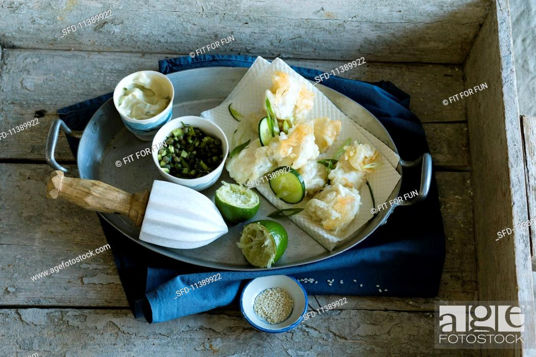 Stock Photo: Fried cod with two dips.
