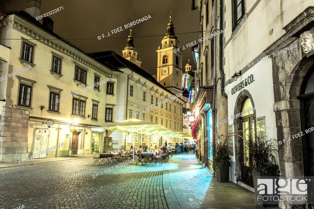 Stock Photo: Ljubljana cityscape by night. European Green Capital 2016, Slovenia.