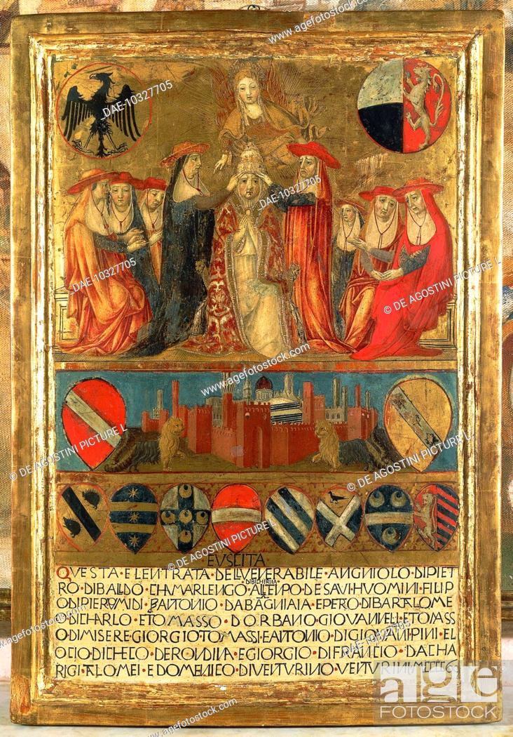 Stock Photo: Coronation of Pope Pius II, with the city of Siena at the bottom guarded by two heraldic lions, by Giovanni di Paolo (1403-1483), Biccherna (painted covers).