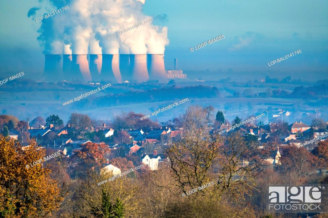 Stock Photo: Ratcliffe power station appears to dwarf Swannington from over ten miles away.