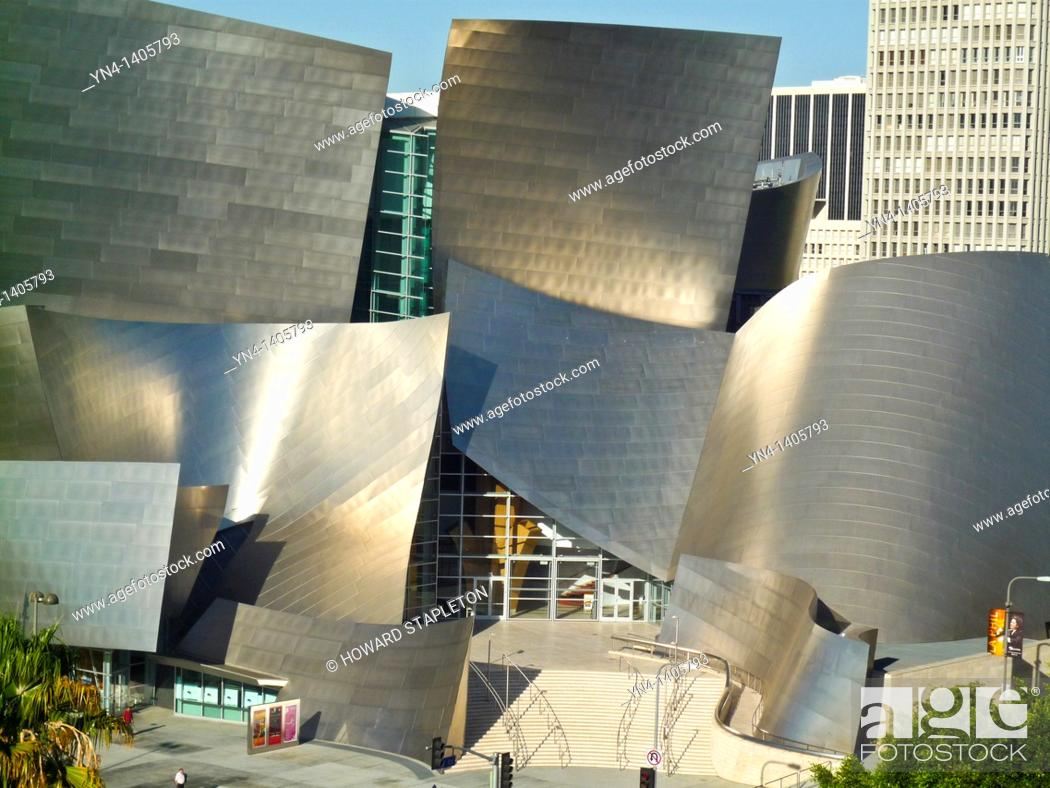 Stock Photo: Walt Disney Concert Hall. Disney Hall was designed by architect Frank Gehry. Los Angeles, California.