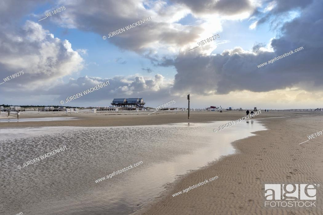 Stock Photo: Beach with stilt houses, Sankt Peter-Ording, North Sea, Schleswig-Holstein, Germany, Europe.