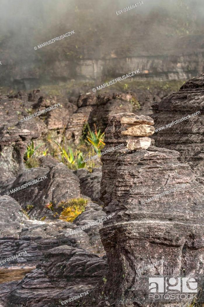Stock Photo: Bizarre ancient rocks of the plateau Roraima tepui - Venezuela, Latin America.