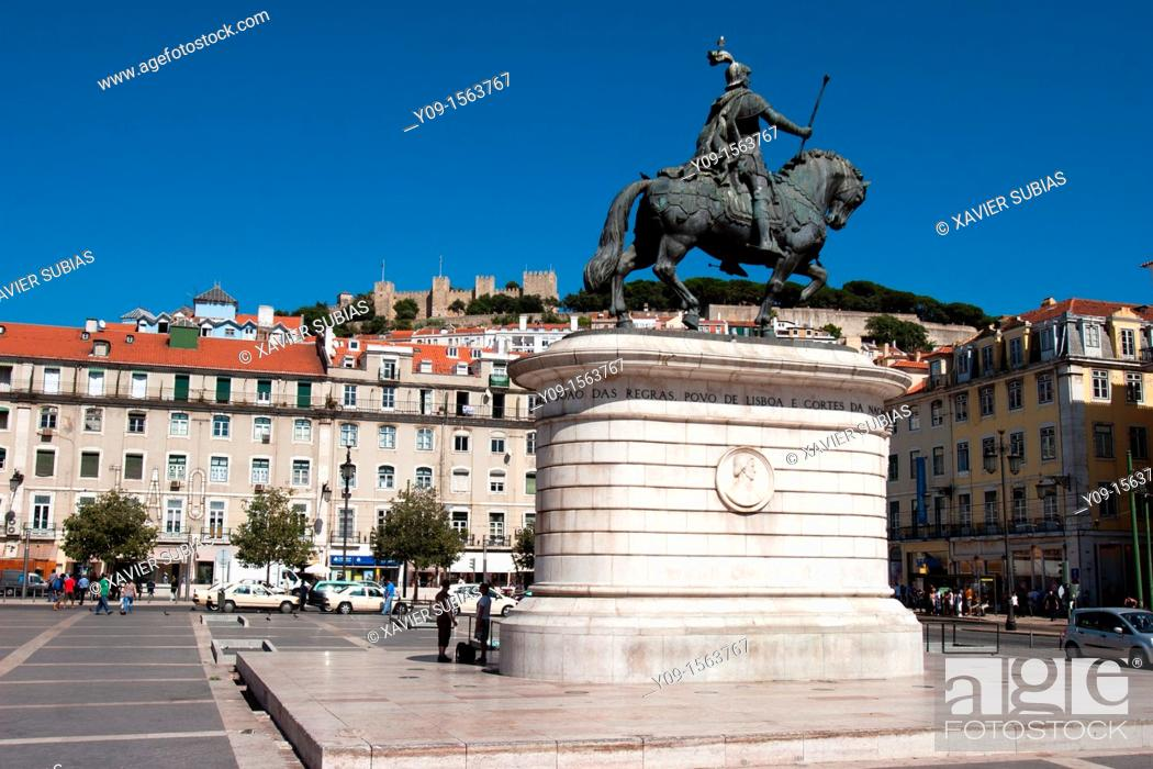 Stock Photo: Equestre Statue to king John I in Figueira Square, Lisbon, Portugal.