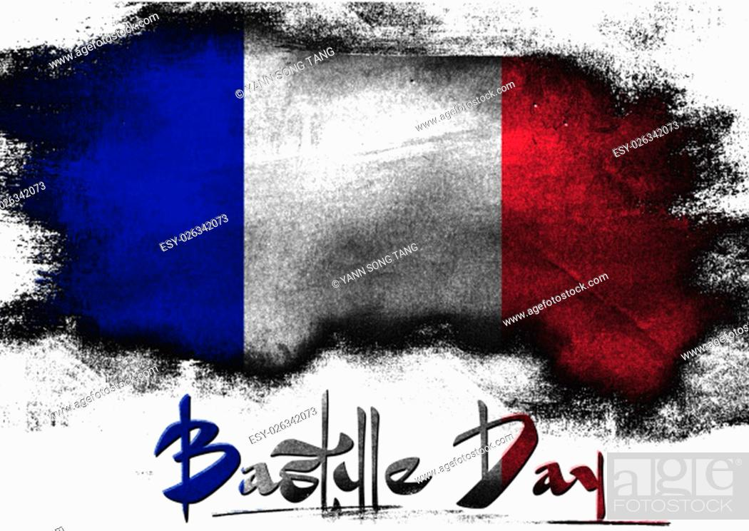 Stock Photo: Bastille Day in France painted with brush on solid background,.