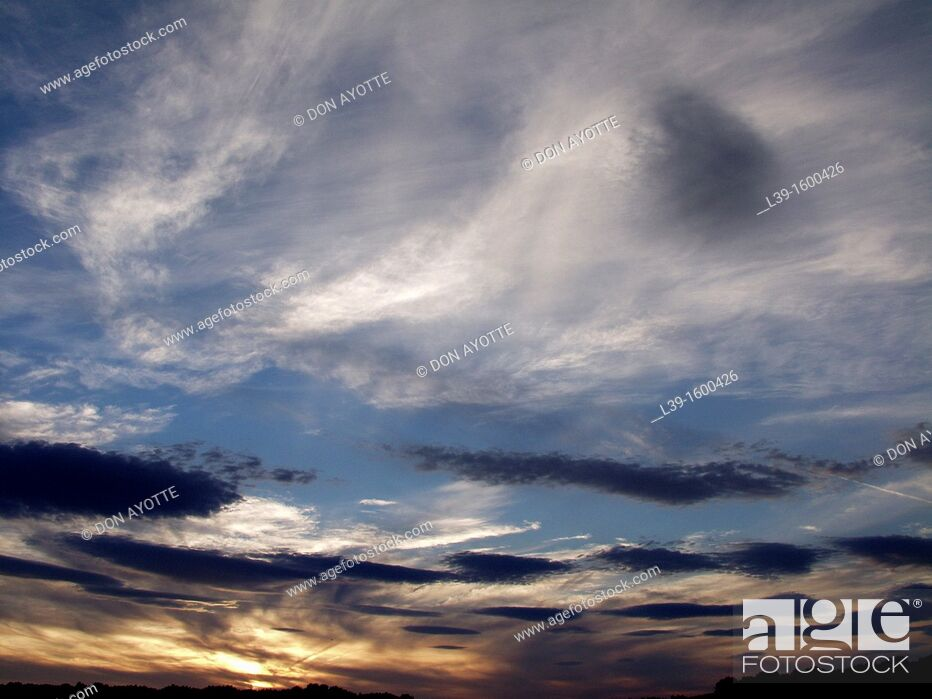 Stock Photo: Clouds in the sky at sunset in Amherst, MA, USA.