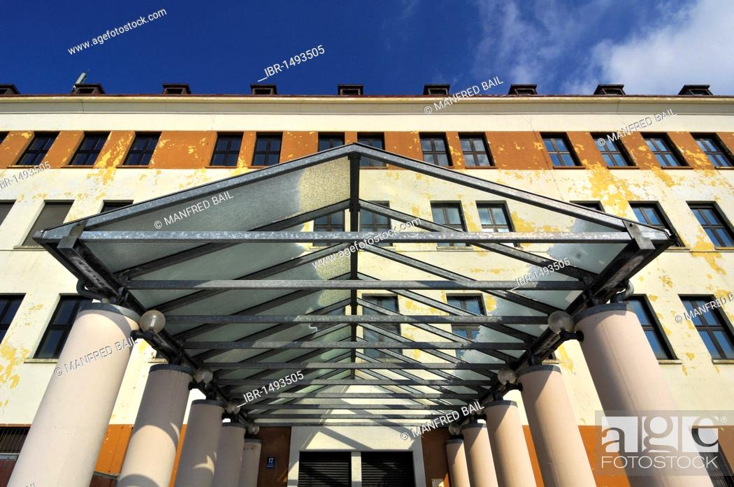 Stock Photo: Entrance and facade of the former McGraw barracks, Harlaching, Munich, Bavaria, Germany, Europe.
