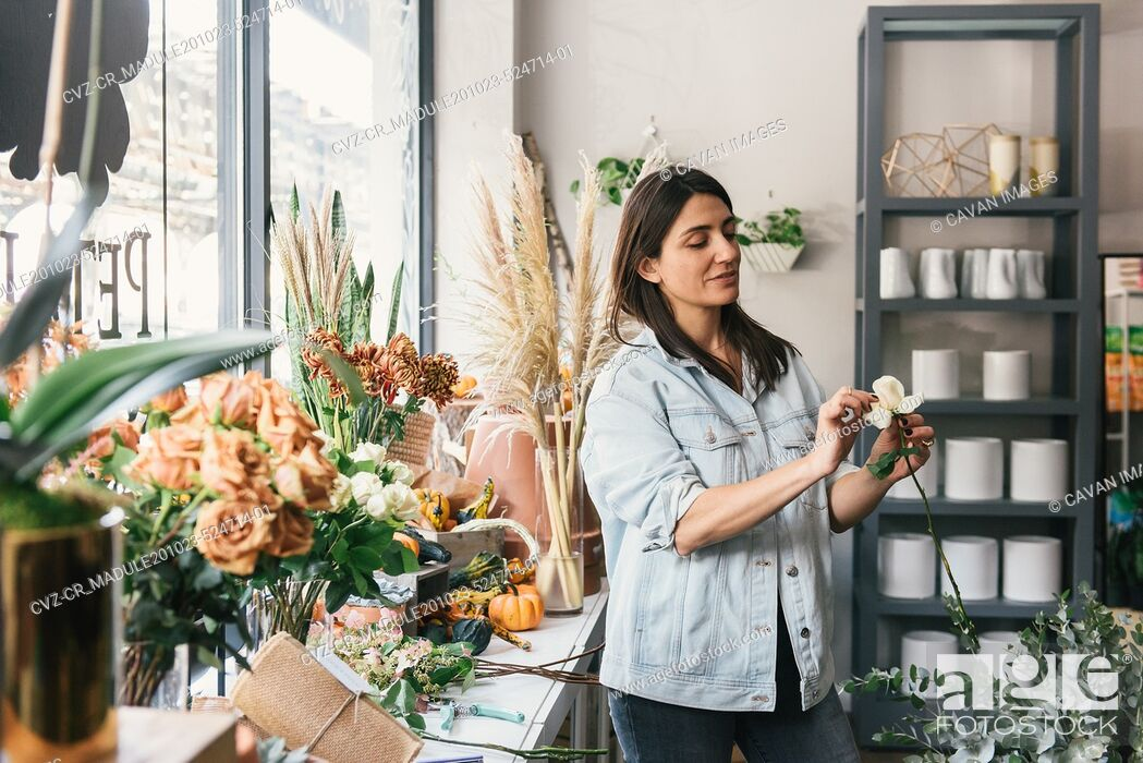 Stock Photo: Adult woman looking at single white rose for bouquet in flower shop.