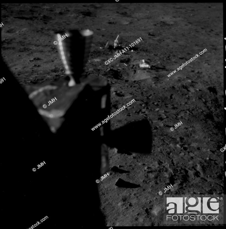 Stock Photo: Apollo 11 hasselblad image from film magazine - post-landing, post-eva. Apollo 11 mission, first landing on the moon, july 1969, with astronauts neil armstrong.