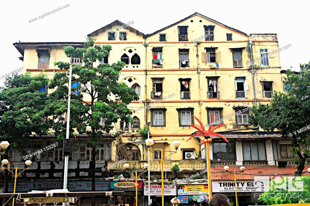 Stock Photo: Old building Chikhal house mass urban housing ; Princess  street ; Vardhaman Chowk