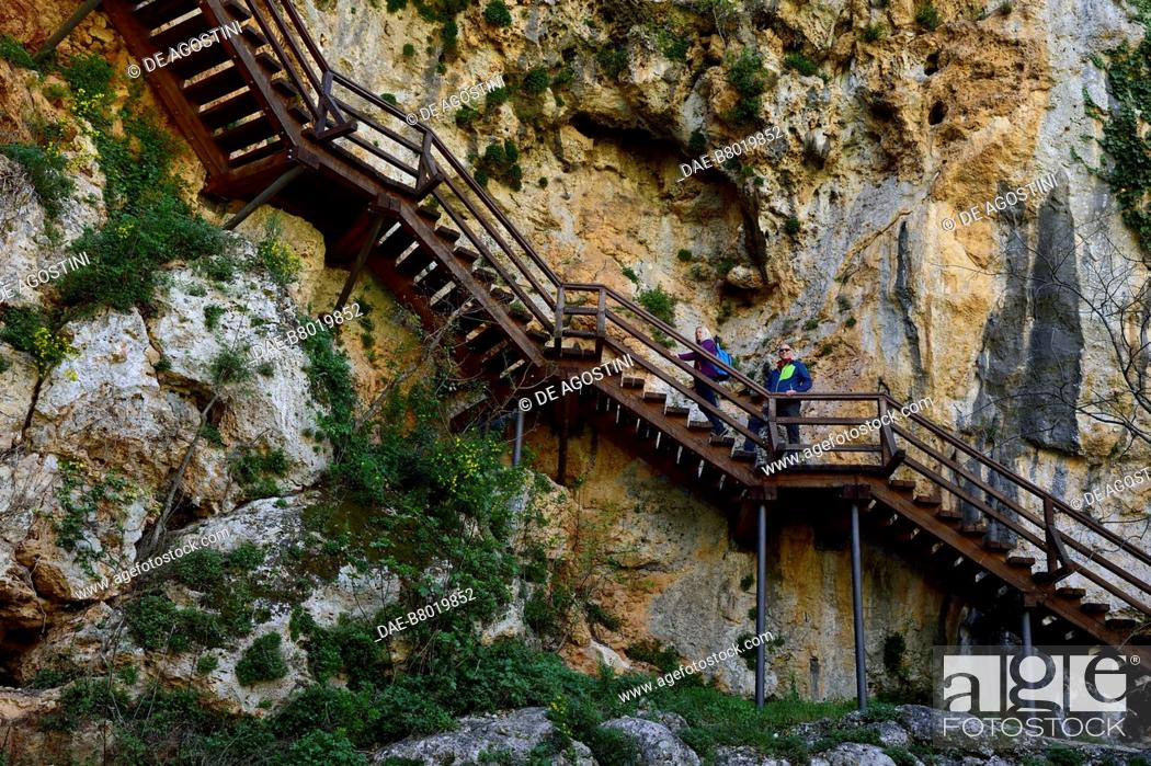 Stock Photo: Steps leading to the Roski Slap viewpoint, Krka National Park, Croatia.