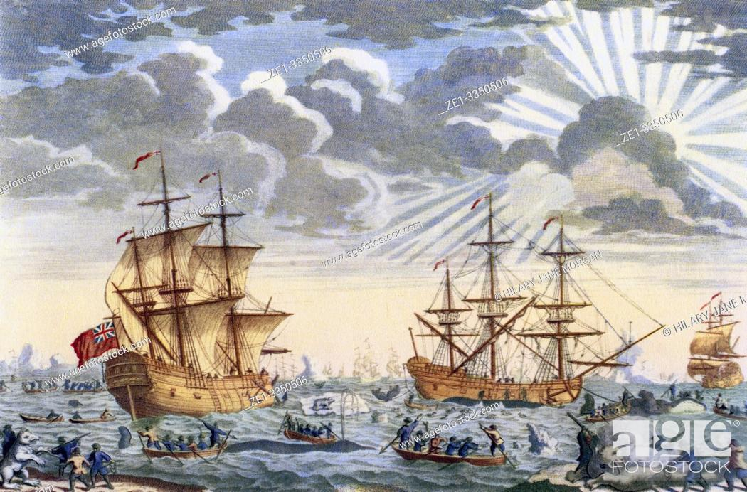 Stock Photo: Greenland whale fishery in the 18th century. From British Polar Explorers, published 1943.