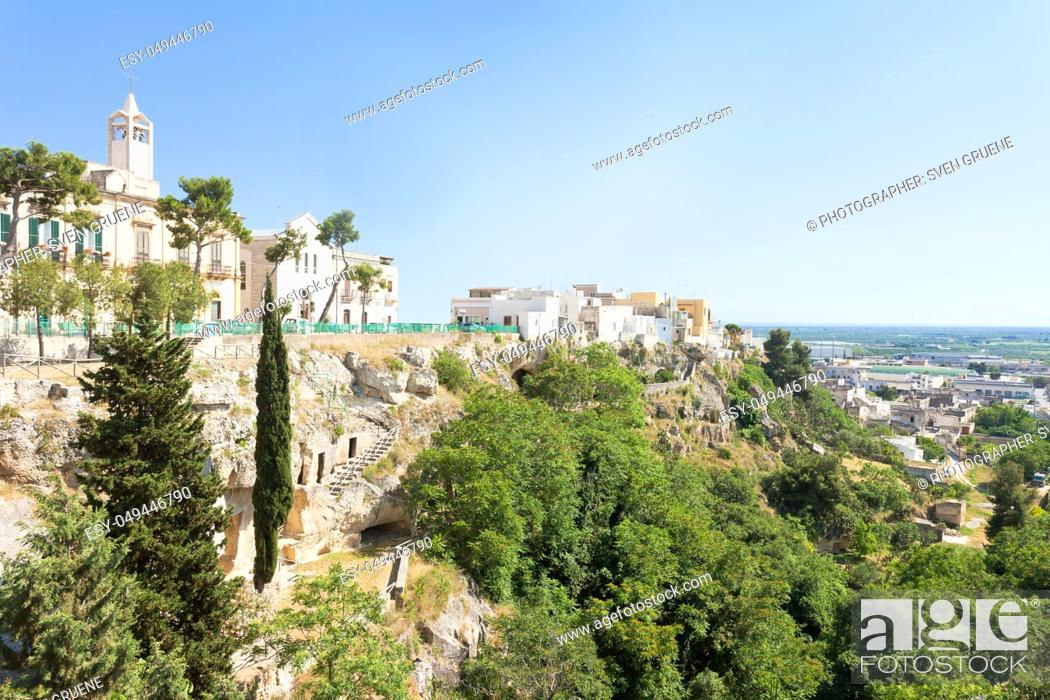 Stock Photo: Massafra, Apulia, Italy - Church and park built on the mountains for safety reasons.