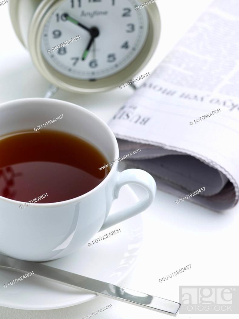 Stock Photo: food, coffee, teaspoon, saucer, table clock, cuisine, coffee cup.