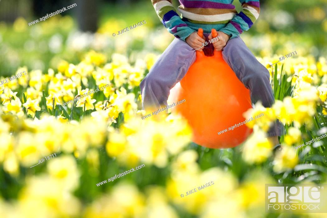Stock Photo: Girl bouncing on hoppity horse in daffodil field.