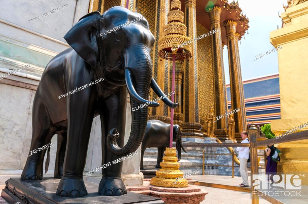 Stock Photo - Elephants Statue at the Temple of the Emerald Buddha, Wat  Phra Kaew, Bangkok, Central Region, Thailand, Asia.