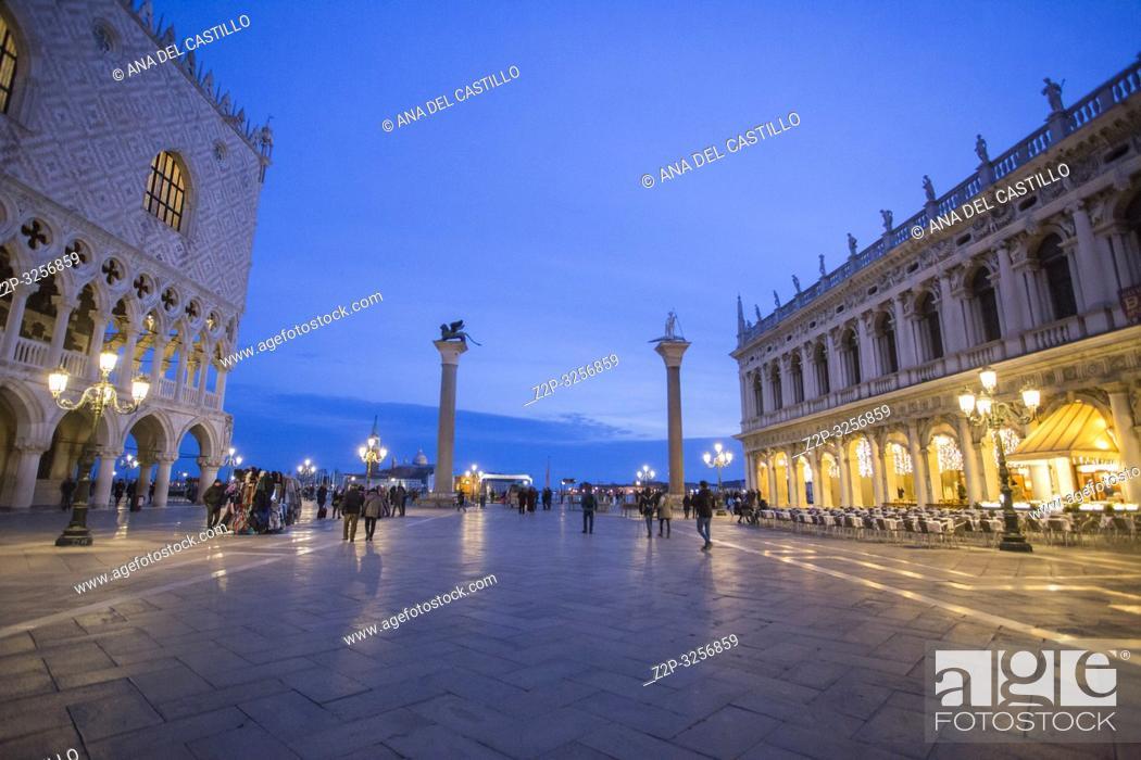Stock Photo: Venice, Veneto, Italy : Twilight at St Marks square.
