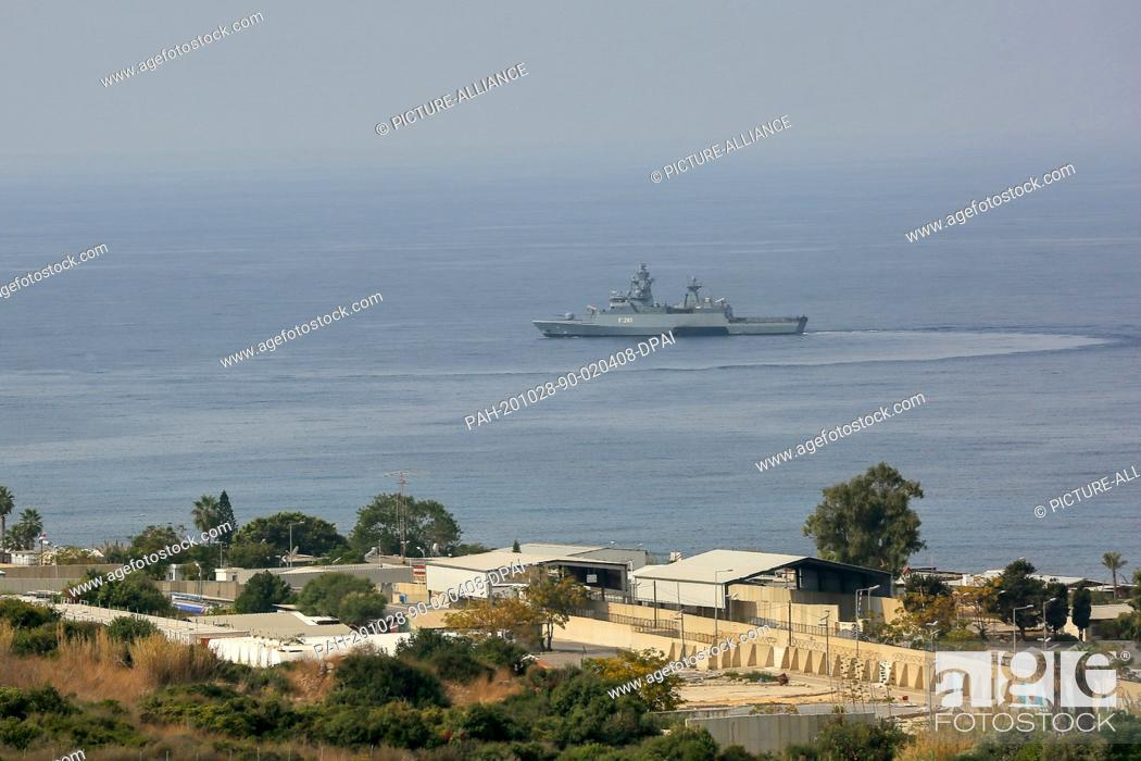 Stock Photo: 28 October 2020, Lebanon, Naqura: A United Nation Interim Force in Lebanon (UNIFIL) warship secures the water near the base.