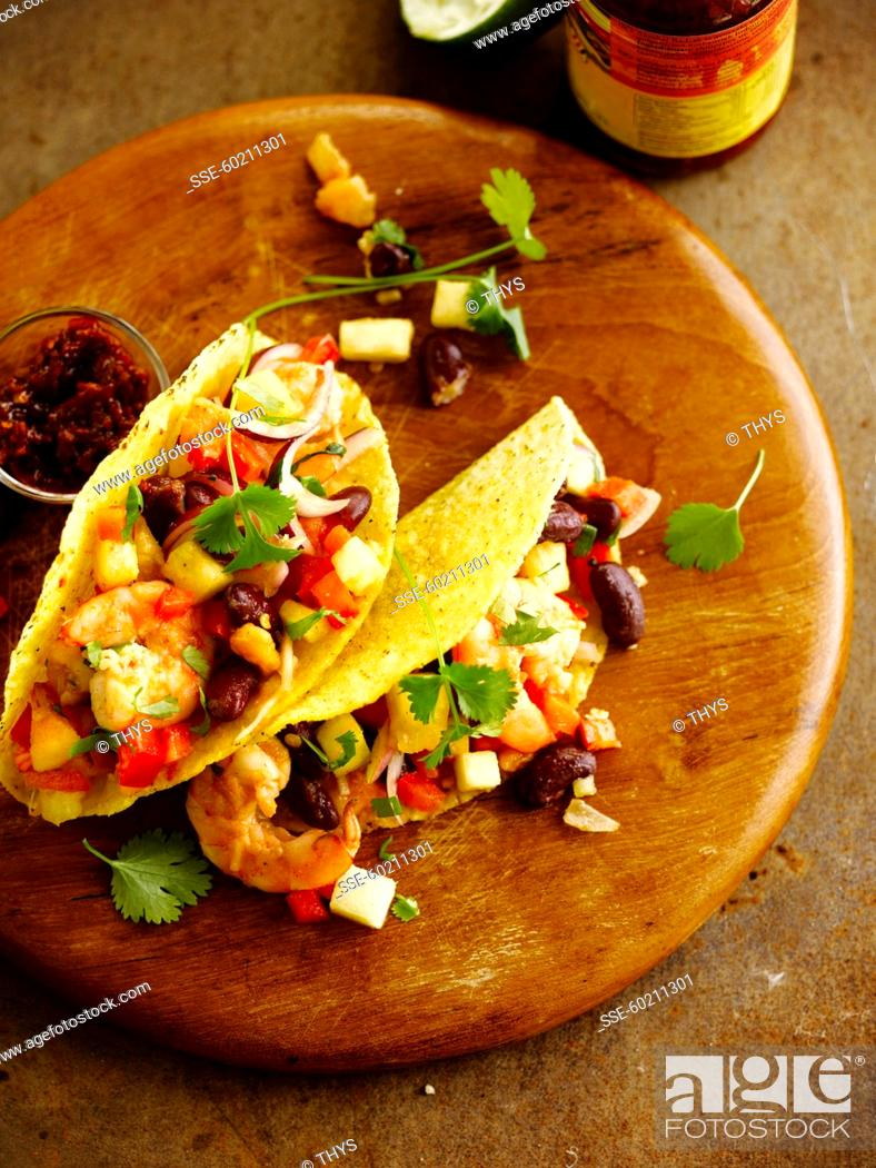 Shrimp And Red Kidney Bean Tacos Stock Photo Picture And Rights Managed Image Pic Sse 60211301 Agefotostock