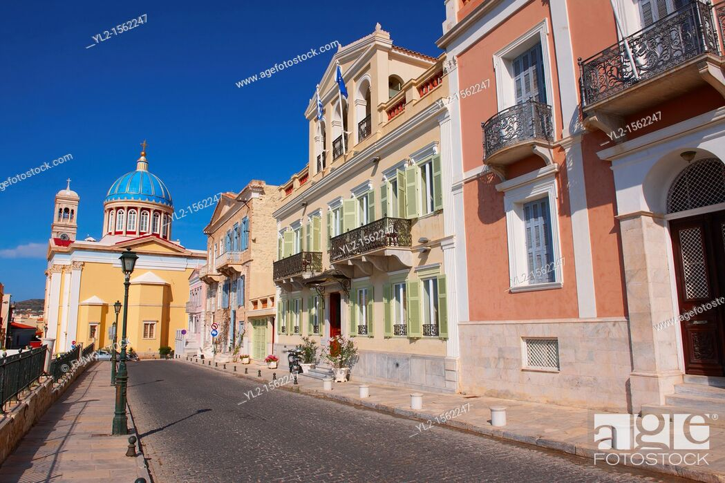Stock Photo: The Neo Classic buildings & Greek OrthodoxChurchof Saint Nicholas, Ermoupolis, Syros, Greek Cyclades Islands.
