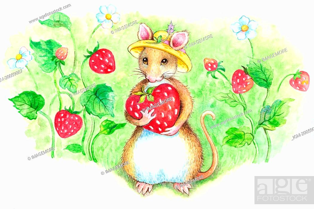 Stock Photo: Animal, Watercolor painting of a cute mouse holding a strawberry.