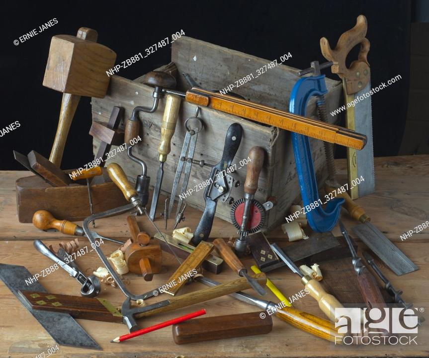 Carpenters Tools On Woodworking Bench Stock Photo Picture And Rights Managed Image Pic Nhp Zb881 327487 004 Agefotostock