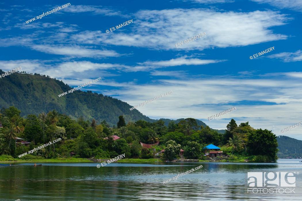 Stock Photo: View of Samosir Island over Lake Toba, Sumatra, Indonesia.