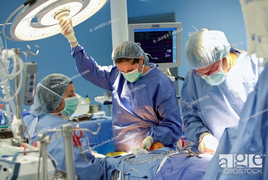 Stock Photo: Cardiology operating room, cardiovascular surgery, cardiac surgery. Hospital Policlinica Gipuzkoa, San Sebastian, Donostia, Euskadi, Spain.