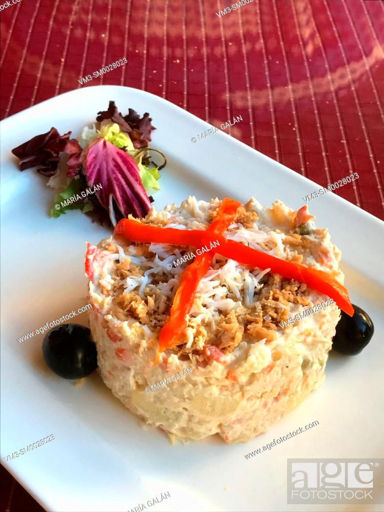 Stock Photo: Russian salad serving. Spain.