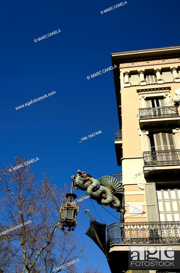 Stock Photo: Casa Bruno Cuadros on La Rambla, Barcelona, Catalonia, Spain, Europe.
