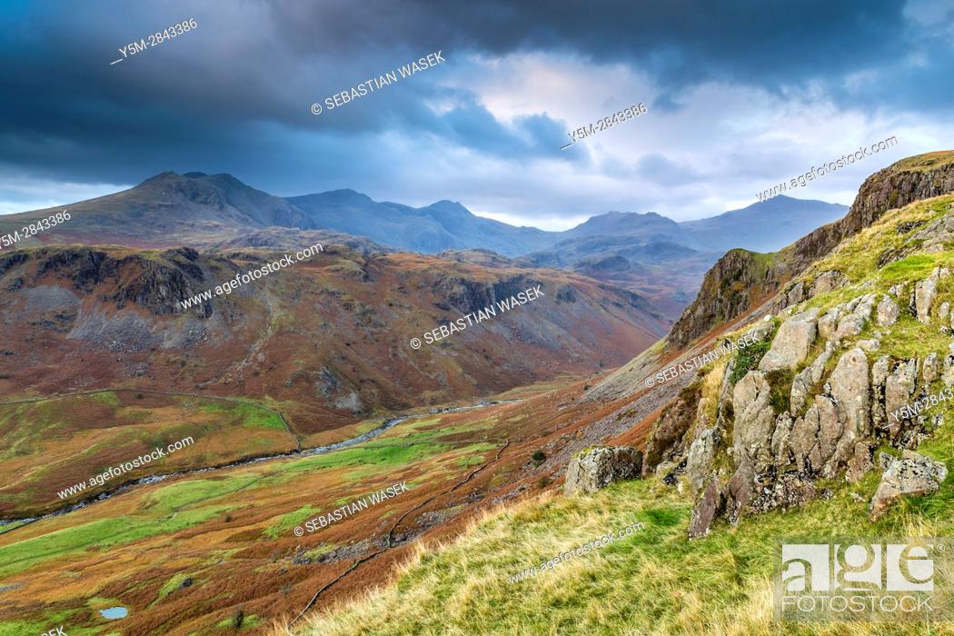 Stock Photo: Looking down from Hardknott Pass, Lake District National Park, Cumbria, England, United Kingdom, Europe.