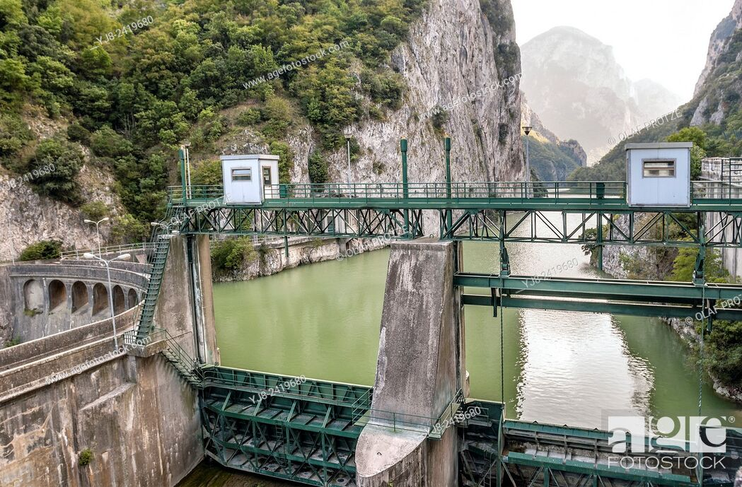 Stock Photo: Dam at the Furlo Gorge in Acqualagna, Marche, Italy.