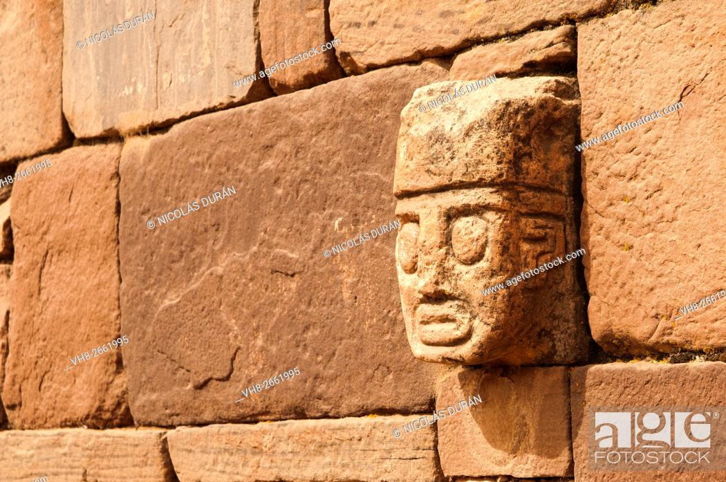 Stock Photo: Tiahuanaco stone face. Tiahuanaco ruins. La Paz Department. Bolivia. South America.