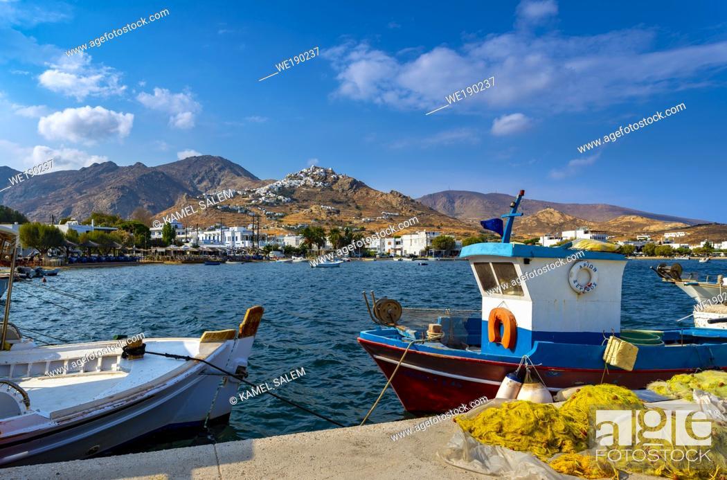 Stock Photo: Livadi bay and view of Chora village, Serifos island, Cyclades, Greece.