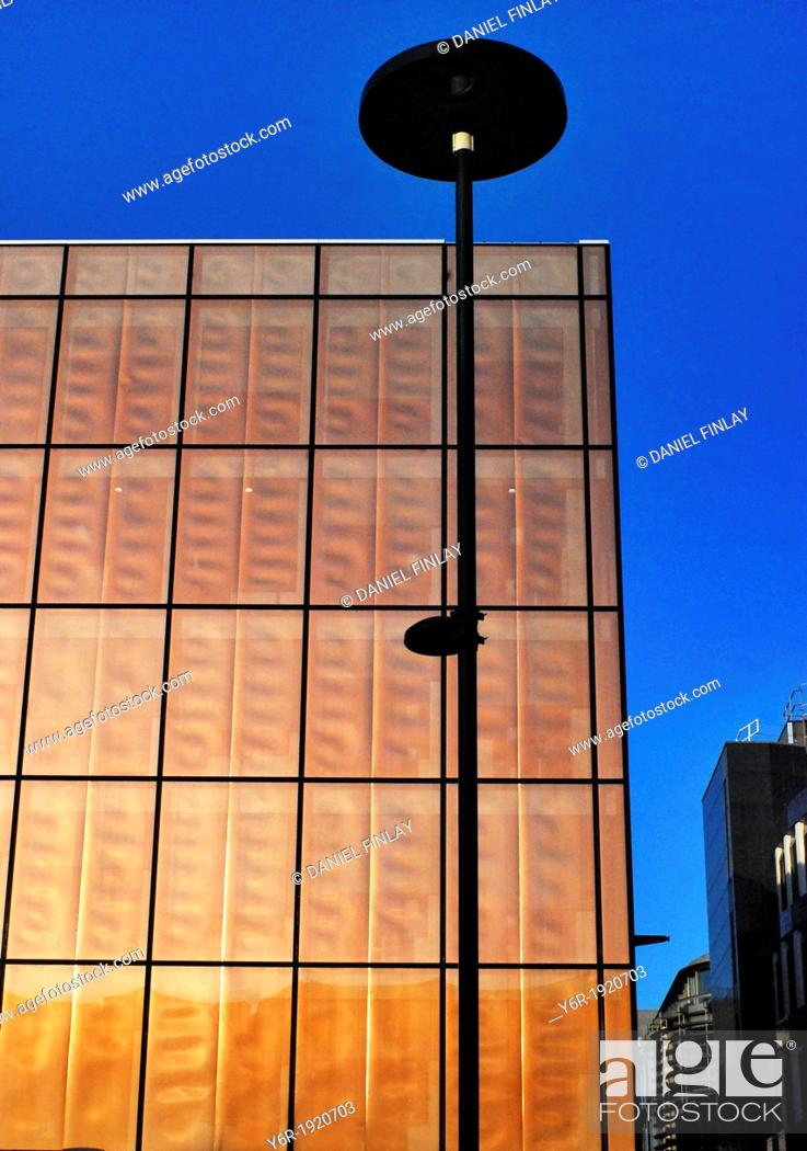 Stock Photo: View of avant garde City of London office building seen from Queen Victoria Street, on a very sunny Winter day in southern England.