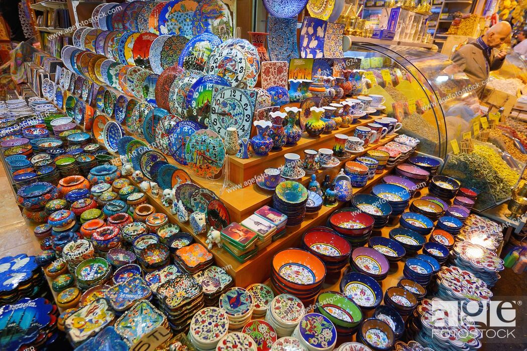 Stock Photo: Ceramic display in the Egyptian Bazaar Istanbul next to a spice shop.