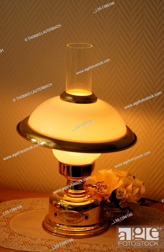 Stock Photo: A modern table lamp looks like old.