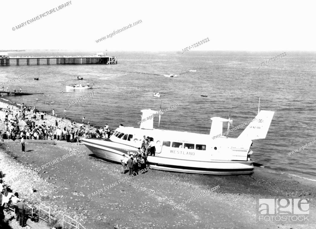 Stock Photo: Penarth, the Hovercraft 1963.