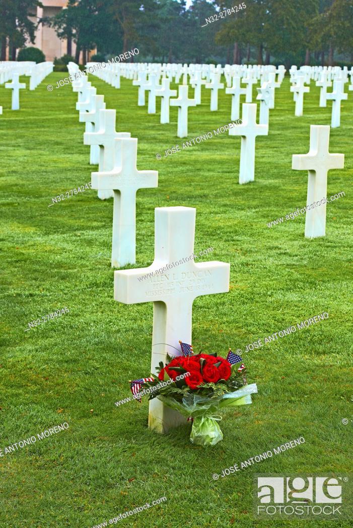 Stock Photo: Second World War Cemetery, Colleville Sur Mer, Omaha Beach, D-DAY Landing Site, American War Cemetery, Basse-Normandie. Calvados Department, Bayeux District.