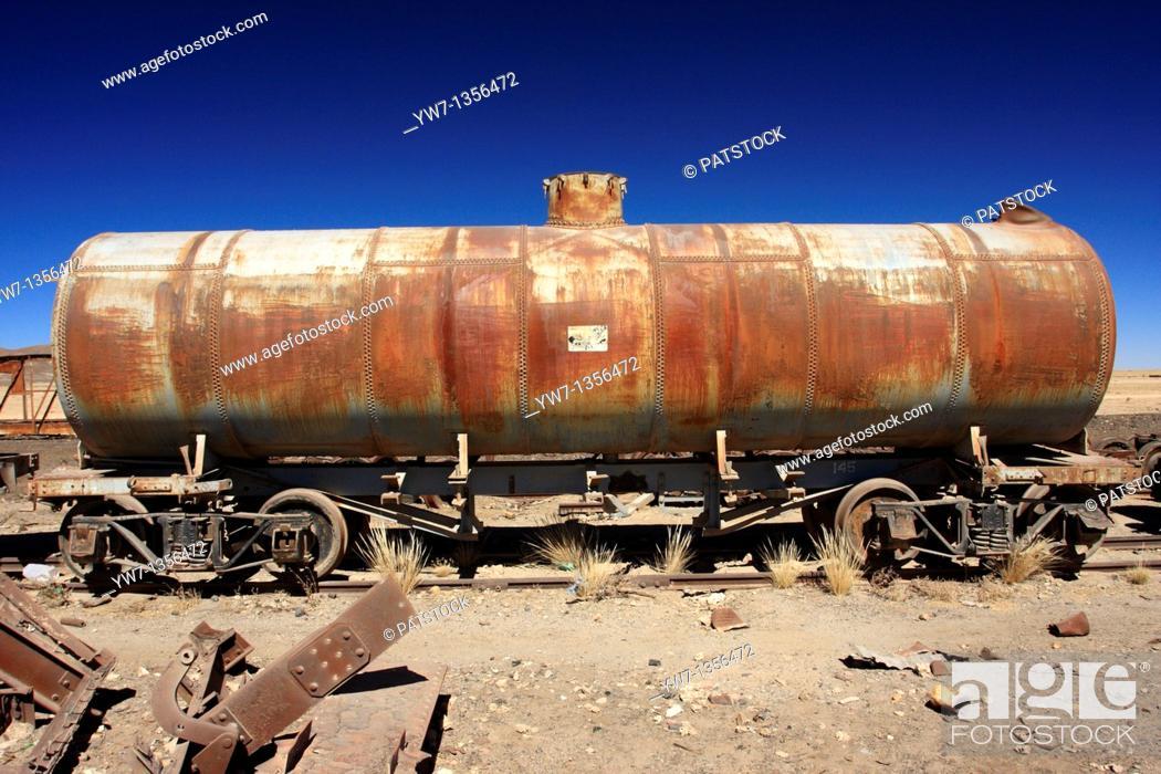 Stock Photo: Wreckage of railway tanker in the vicinity of Uyuni, Bolivia.
